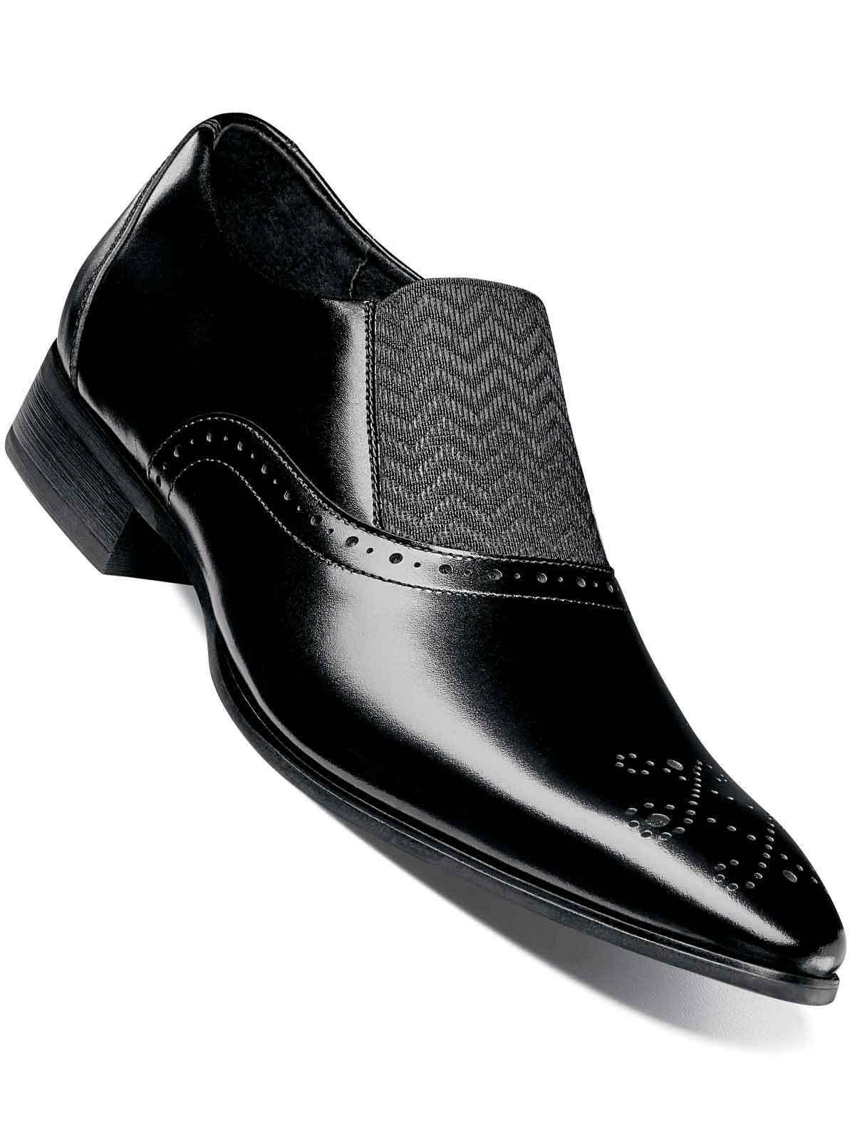 Stacy Adams Mens Black Genuine Leather Valerian Brogue Men Slip-ons Dress shoes