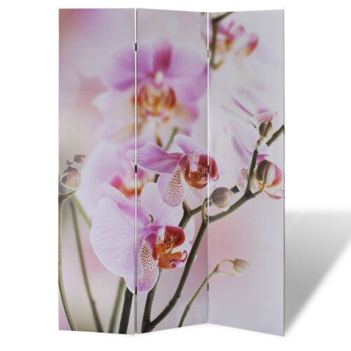 1 of 1 - Large Folding 3 Panels Room Divider Screen Solid Wood Print Flower Privacy 120cm