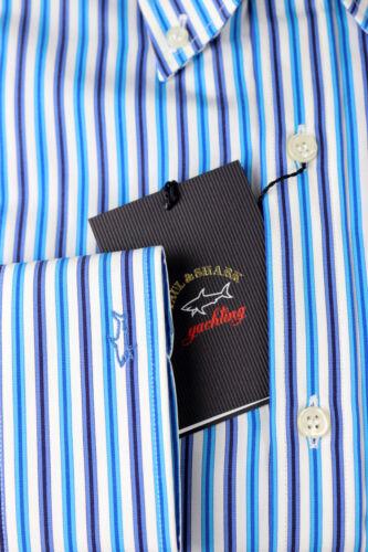 Paul /& Shark Uomo camicia manica lunga p18p3138 Cotone Strisce Blu Turchese Bianco