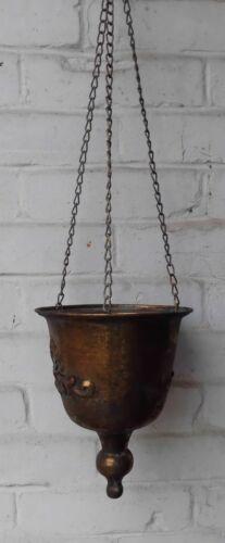 Hängetopf Übertopf Blumenampel Pflanztop an Kette Eisen gold antik