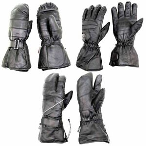 Snowmobile-Gloves-Adult-Leather-Mitten-3-Finger-Snow-Warm-Ski-Winter-Black
