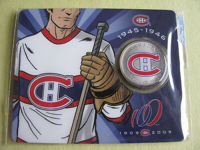 1909-2009 Montreal Canadians 50 cents colored coin Rare # 2 white jersey