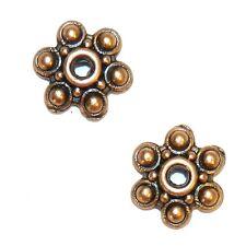 M3159p Antiqued Copper 10mm 6-Petal Scalloped Flower Metal Bead Caps 50/pkg