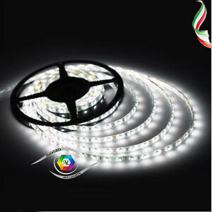 BOBINA STRISCIA STRIP LED 5050 FLESSIBILE 5M ADESIVA LUCE INTERNO ESTERNO IP65