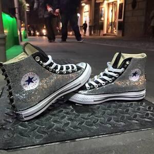 Converse all Star Nere personalizzate con tessuto Glitter argento effetto sporco