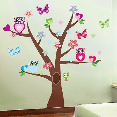Colorful Cute Owls Tree Animals Décor Home Kid Baby Room Nursery Decal Wallpaper
