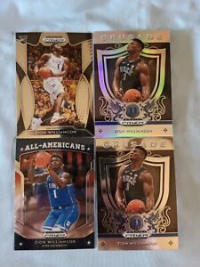 2019-20-Prizm-Draft-Zion-Williamson-Lot-X4-With-Silver-Pelicans-Rc