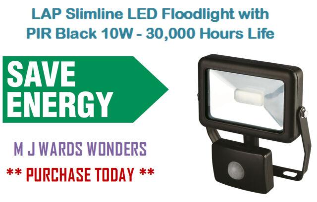 LAP Slimline LED Floodlight 10W Black