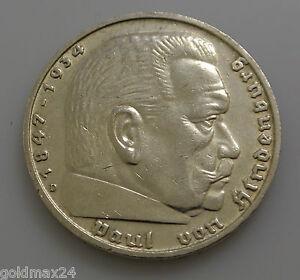 Drittes-Reich-5-Reichsmark-Silbermuenze-1936-D-Hindenburg