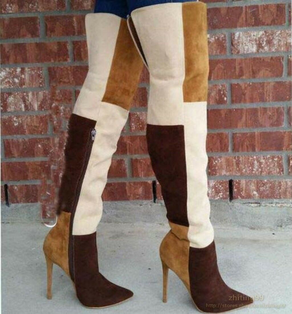 Women Mixed color Suede Leather Sexy Over Knee Boots Stilettos High Heels shoes
