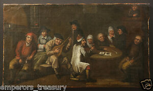 Antique-Dutch-Old-Master-Oil-Painting-of-a-Bar-Scene-from-19th-Century