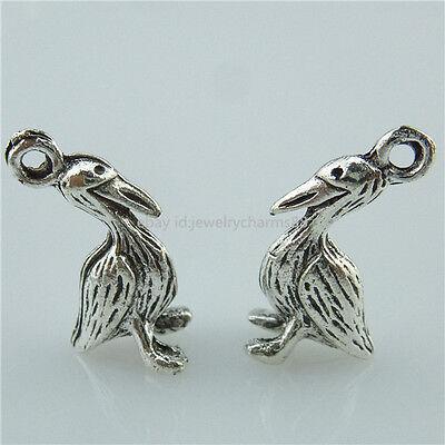 14052*30PCS Alloy Vintage Silver Tone Mini Bird Pelican Animal Pendant Charms