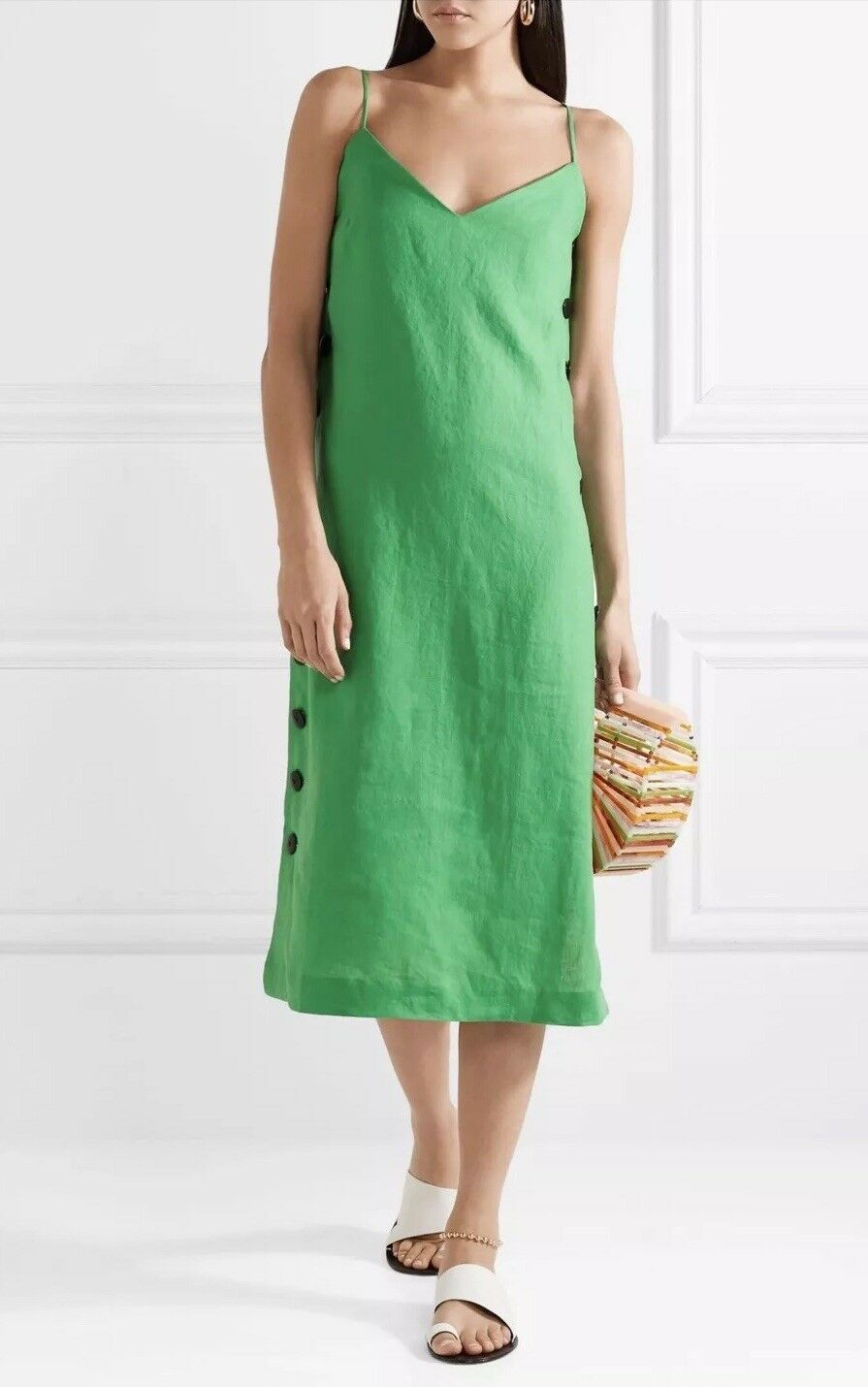 NWT  Mara Hoffman Heidi Linen Midi Dress Size Medium Green Side Button