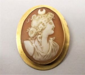 Antique 10K Gold Ornate Engraved Square Shape Left Face Cameo Pin Pendant VictorianCivil War Reenactment PinEarly Victorian Cameo Lovely