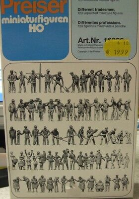 Assorted Jobs 120 Unpainted Figures Preiser 16326 Gauge H0 Figurines