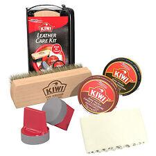 KIWI LEATHER CARE TRAVEL KIT Black & Brown Shoe Polish • Shine Brush PROTECTION