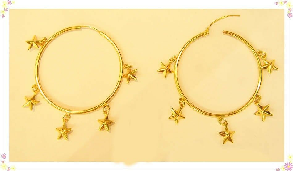 18k gold hoop STAR  earring from thailand