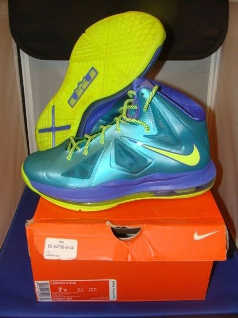 VNDS Nike Lebron X 10 Sport Turquoise Volt Violet Force Size 7 Boys  2-3 Xs
