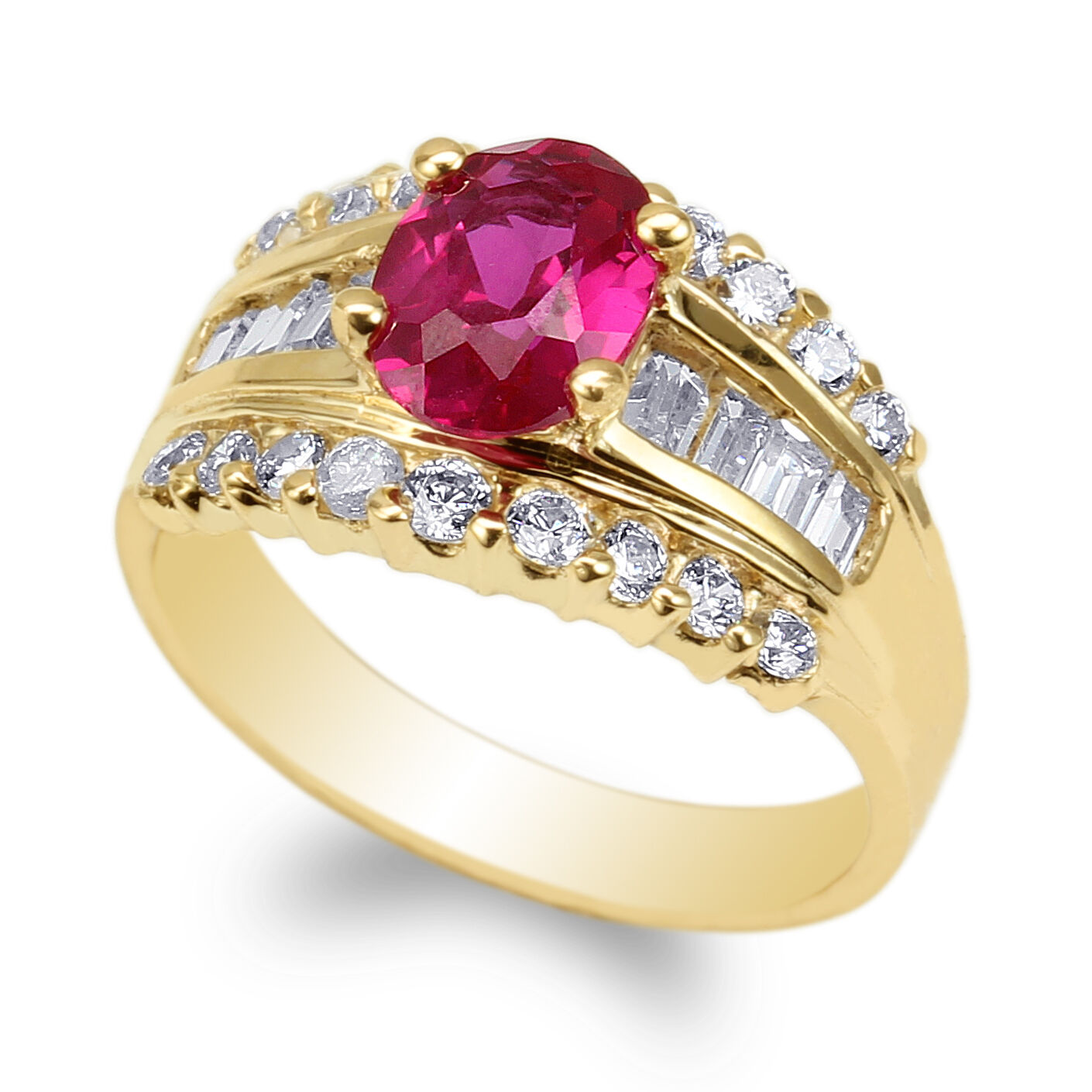 JamesJenny 14K Yellow gold 1.25ct Oval Ruby Cubic Zirconia Fancy Ring Size 4-9