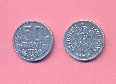 Moldova set 6 coins 1 5 10 25 2x 50 Bani 1993-2005 KM 1 2 3 4 7 10 UNC