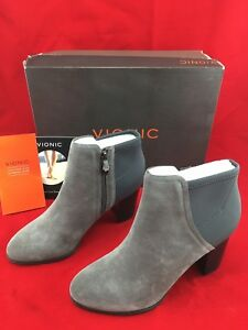 5ebe3ef9f6a Details about Vionic Whitney Ankle Boot Size 8 Suede Neoprene Charcoal New