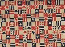 American Flag Patriotic Squares Cotton Quilt Print By the Yard #320