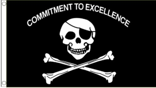Pirate Jolly Roger Skull /& Crossbones Commitment To Excellence 5/'x3/' Flag