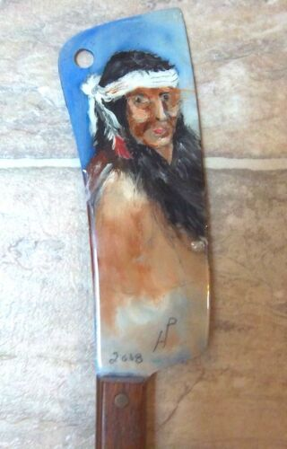 MEAT CLEAVER WITH FOLK ART NATIVE AMERICAN INDIAN PAINTED ON IT. UNIQUE ITEM