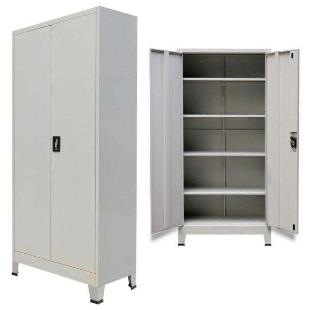 sports shoes 66063 24b04 Home Office Filing Cabinet With 2 Doors Steel File Organizer Storage Locker  Gray