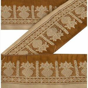Crafts Vintage Sari Border Antique Embroidered Woven Trim Sewing Saffron Lace Lace, Crochet & Doilies