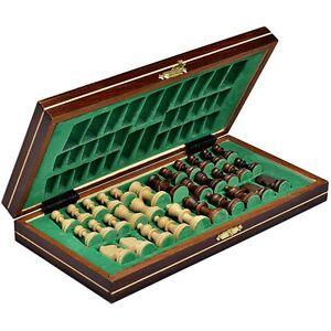 Wooden Travel Chess Set Magnetic Chessmen Folding Board Portable Chessboard Game