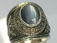 United States Air Force Gray Stone Tiger Eye Military Men Rhodium Ring Size 14