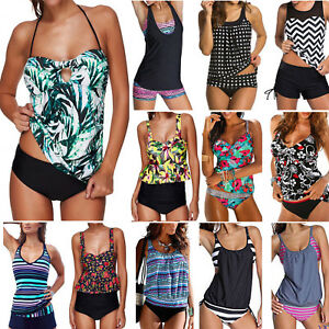 81b75b77558 Image is loading Women-Blouson-Sporty-Tankini-Sets-Swimwear-Top-Short-