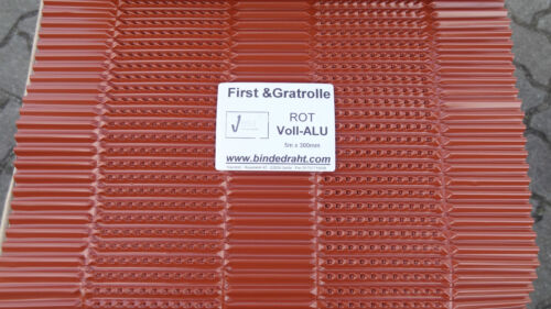 Firstband Gratrolle Firstrolle Rollfirst aus Voll-Aluminium 0,30 x 5 m  rot