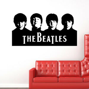 Removable the beatles portrait wall stickers living room for Beatles wall mural