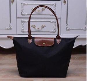 b249f0a6579 Auth New Longchamp New Le Pliage Nylon Tote Handbag Black Large   eBay