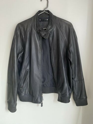 Mens Coach Navy Blue Leather Jacket Size Small