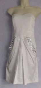 Ladies-AX-PARIS-ivory-satin-diamonte-embellished-semifitted-dress-size-10