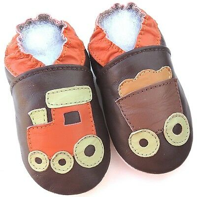 Minishoezoo boots brown tan 6-12 m soft sole baby leather  shoes free shipping