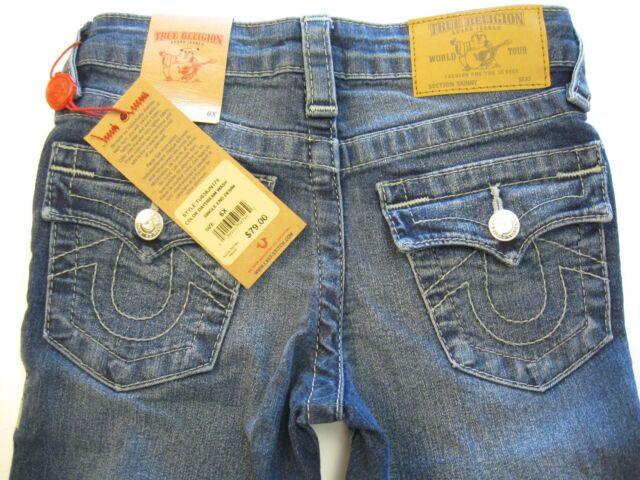 a8a745405 Girls True Religion Sz 6x Jeans Flap Back Pockets Medium Blue Denim ...