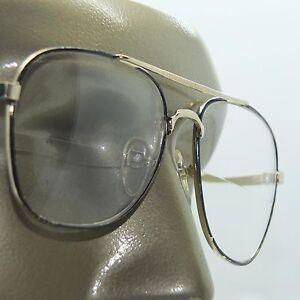 Wide Aviator Black Gold Metal Frame Straight Line Bifocal ...