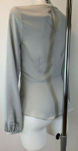 Ladies New Ex River Island  Light Grey Blouse size  8 10 12 14 16