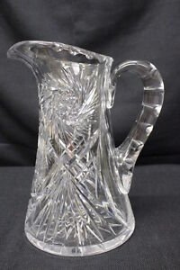 Antique-American-Brilliant-Cut-Glass-Pitcher-w-Thumbprint-Handle-amp-Fan-Hobstar