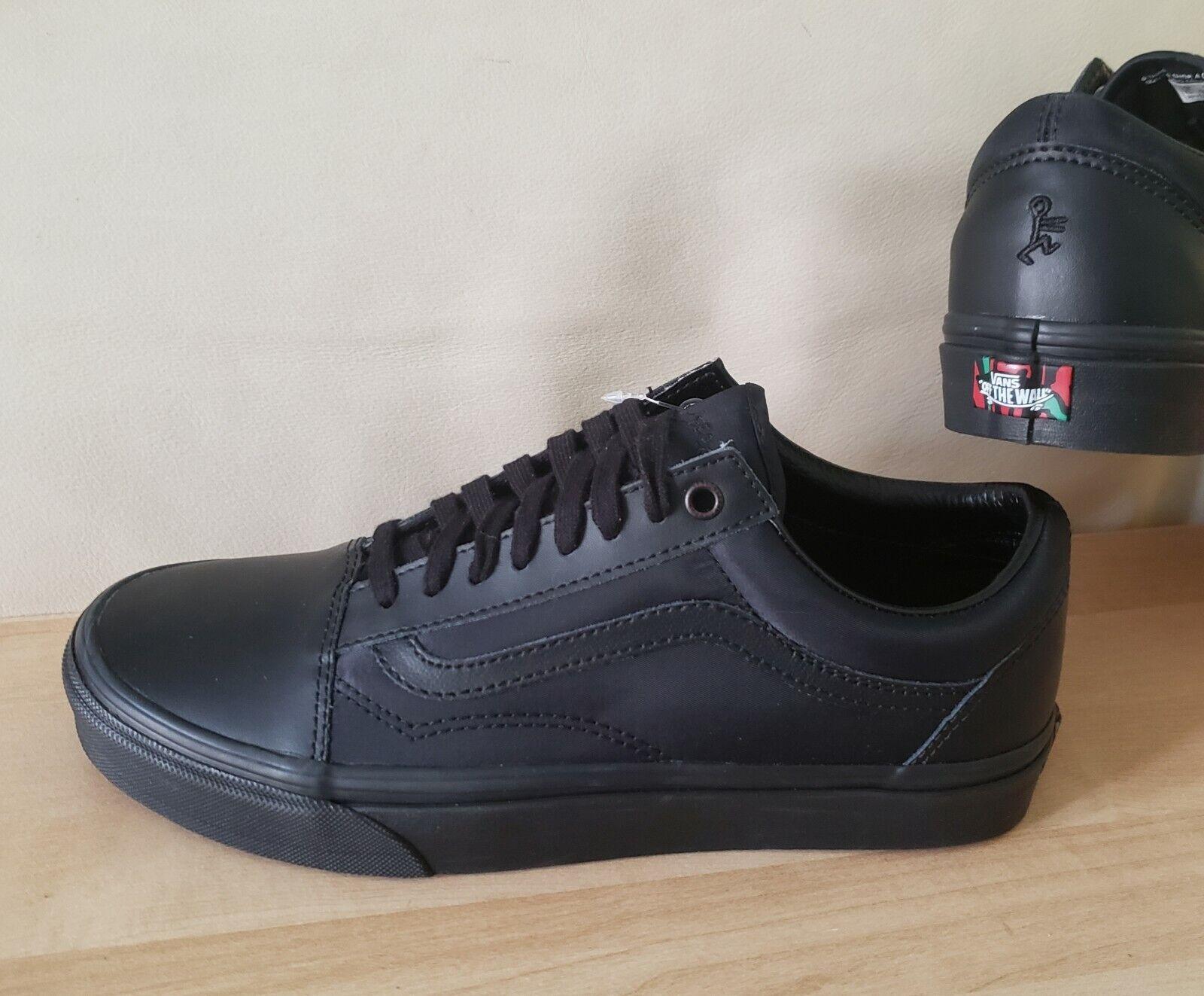 vans old skool black leather
