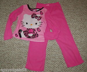 51b0e32bc GIRLS FLANNEL PAJAMAS Pants L/S Shirt Set HELLO KITTY Hearts PINK ...
