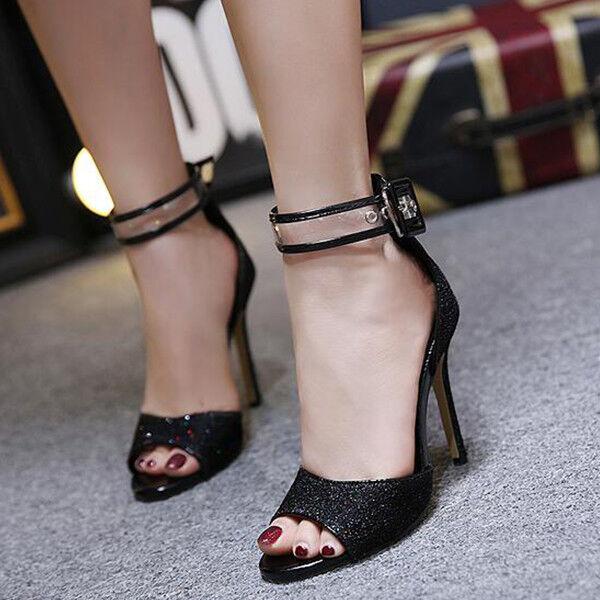 Sandali eleganti tacco stiletto 11 cm negro pelle sintetica eleganti 9828