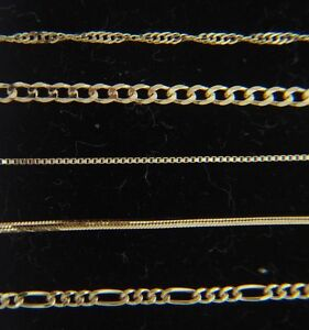 Solid-14k-yellow-gold-Chain-Necklace-Box-chain-Rope-chain-Curb-chain-14kt-gold