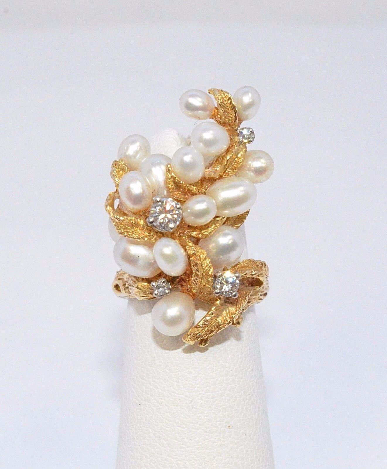 2586-14K YELLOW gold WHITE PEARL & DIAMOND RING APPROX 0.25TCW 9.81GRAMS SZ 3.5