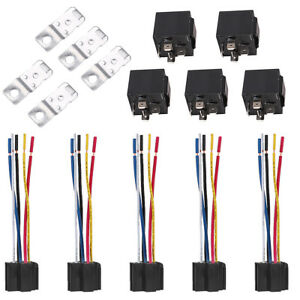 5Pcs DC 12V Car SPDT Automotive Relay 5 Pin 5 Wires w//Harness Socket 30//40 Amp