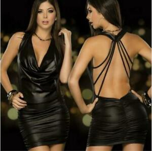 Sexy-Black-Backless-Halter-Wet-Faux-Leather-Bodycon-Dress-Womens-Dresses